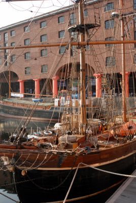 Sailing ship moored at the Albert Dock, Liverpool