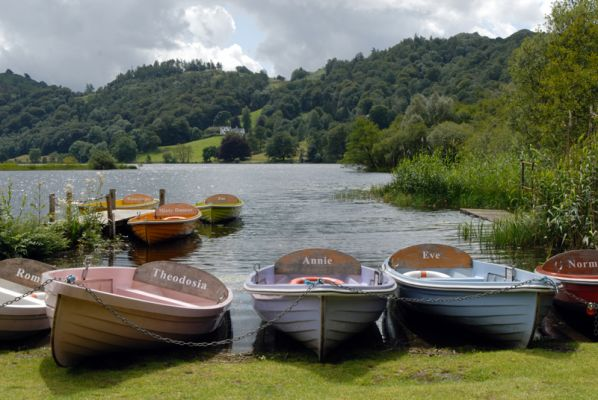 Boats for hire at Grasmere, the Lake District